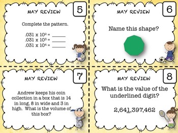5th Grade Math - Spiraled Common Core Review Task Cards (MAY)