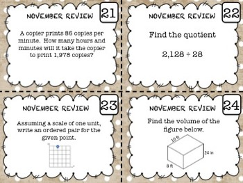 5th Grade Math - Spiraled Common Core Review Task Cards (NOVEMBER)