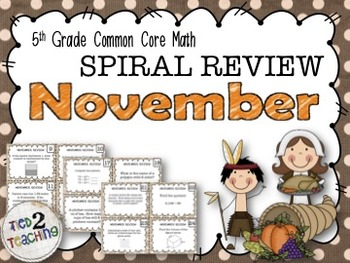 5th Grade Math - Spiraled Common Core Review Task Cards (N