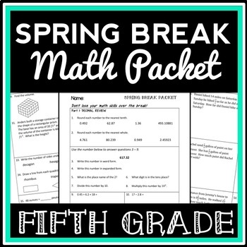 5th Grade Math Spring Break Packet, Test Prep Packet, End-of-Year Review Lesson