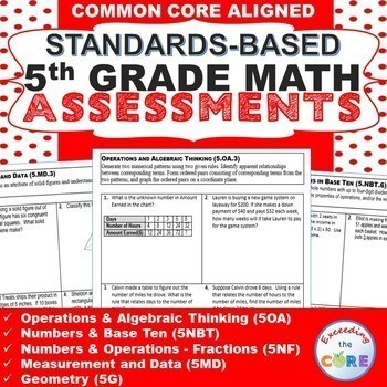 5th Grade Math Standards Based Assessments * All Standards * {Common Core}