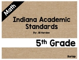 5th Grade Math Standards Display Cards Burlap (Indiana)