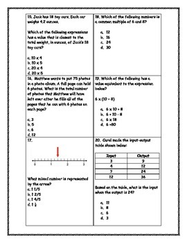 5th Grade Math State Test Practice