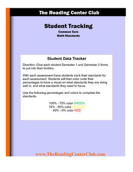 5th Grade Math Student and Teacher Tracking