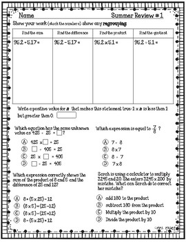 5th Grade Math Summer Review Freebie