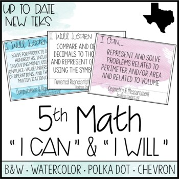 """5th Grade Math TEKS  - """"I Can"""" Statements / """"I Will Learn To"""" Posters"""