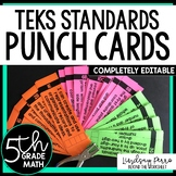5th Grade Math TEKS I Can Statement Punch Cards