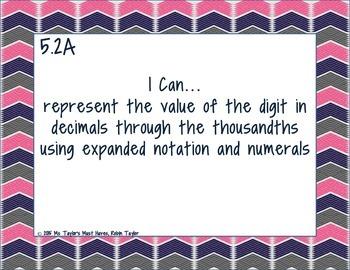 5th Grade Math TEKS- I Can Statements