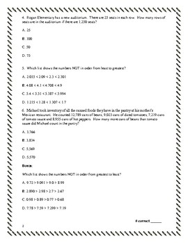 5th Grade Math (TEKS/STAAR-aligned) Practice Questions/Assessment