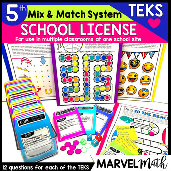 5th Grade Math TEKS Site License: Games, Exit Slips, STAAR Review,  Assessments