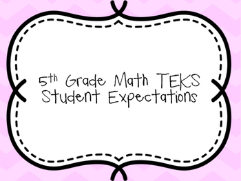 5th Grade Math TEKS Student Expectations