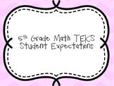 5th Grade Math TEKS Student Expectations