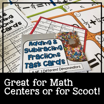 5th Grade Math Task Cards Adding and Subtracting Fractions