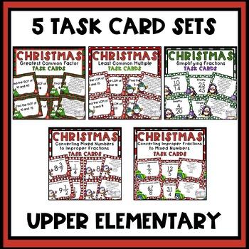 5th Grade Math Task Cards Bundle Christmas Theme
