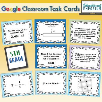 5th Grade Math Task Cards Digital + Paper MEGA Bundle: Google + PDF Task Cards