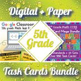 5th Grade Math Task Cards Digital and Paper MEGA Bundle: Google and PDF Formats