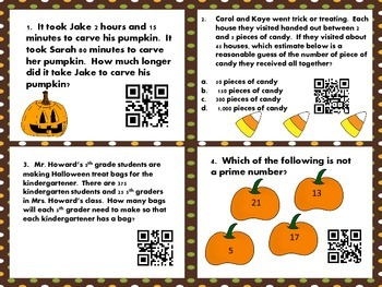 5th Grade Math Task Cards - Halloween Theme