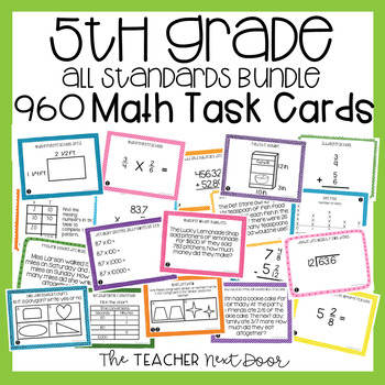 5th Grade Math Task Cards Mega Bundle | 5th Grade Math Centers