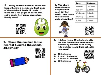 5th Grade Math Task Cards - With QR Code Answers - Problem Solving