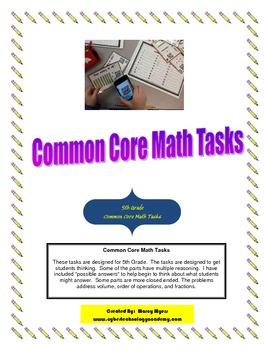 5th Grade Math Tasks for Common Core