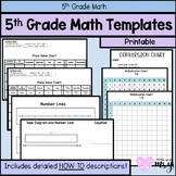 5th Grade Math Templates / Area Model, Tape Diagrams, Number Lines, Times Table