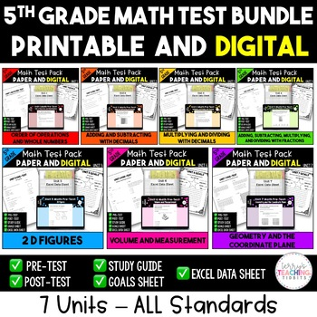 5th Grade Math Test Bundle {Paper and Pencil AND Paperless}