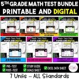 5th Grade Digital and Printable Math Test Bundle - Distanc