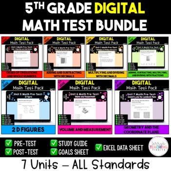 5th Grade Math Test Bundle {Paperless}