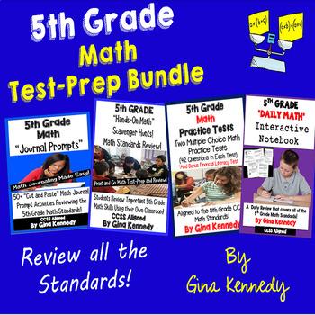 5th Grade Math Test-Prep Bundle, Practice Tests, Hands-On