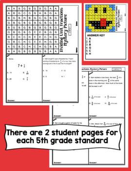 5th Grade Math Test Prep Mystery Pictures - All Standards Mega Bundle