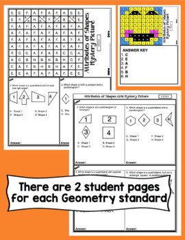 5th Grade Math Test Prep Mystery Pictures - Geometry