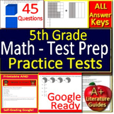5th Grade Test Prep Math Practice Tests Spiral Review CCSS Smarter Balanced
