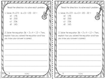 5th Grade Math Test Prep Review Printable Booklet {Common Core}