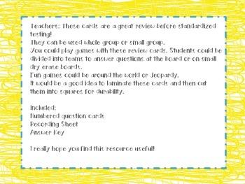 5th Grade Math Test Prep Review Question Cards Common Core, GA Milestones