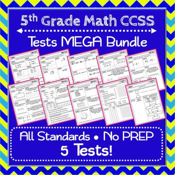 5th Grade Math Tests, 5th Grade Tests, Math MEGA Bundle: NO PREP