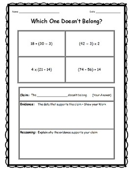5th Grade Math Topics - Which One Doesn't Belong   (Critical Thinking)   DOK 3