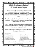 5th Grade Math Topics - Which One Doesn't Belong   (Critic