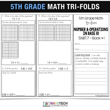 5th Grade Math TriFolds - 5 FREE Booklets for Guided Math or Math Assessments