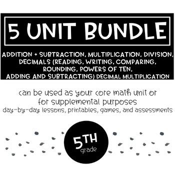 5th Grade Math: Multiplication, Division, Add/Subtraction, Decimals
