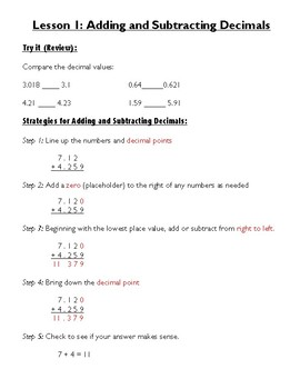 5th Grade Math: Unit 2 Notes (Decimal Operations and Word Problems)