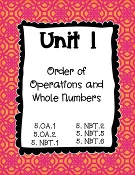 5th Grade Math Unit Binder Covers