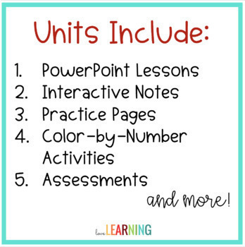 5th Grade Math Units for the YEAR