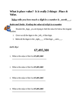 5th Grade Math.  Value of a Digit within a number