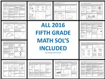 5th Grade Math Virginia SOL Questions for Spiral Review, Tests, and 5 a Days