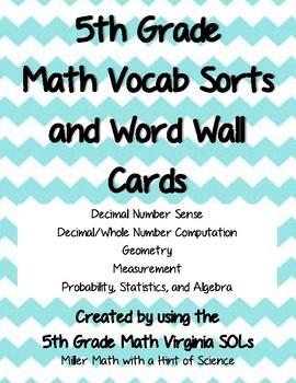 5th Grade Math Vocab Bundle
