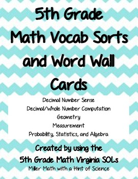 5th Grade Math Vocab Bundle