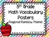 5th Grade Math Vocabulary Common Core Rainbow Stripes