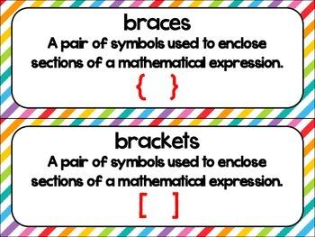 5th Grade Math Vocabulary Common Core Rainbow Stripes