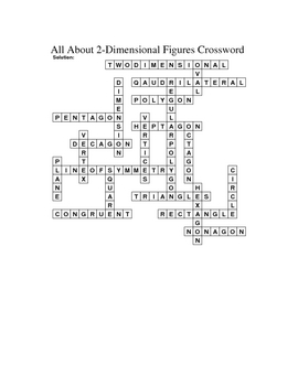 5th Grade Math Vocabulary Crossword Puzzles