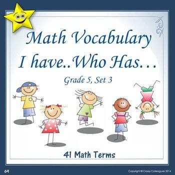 Math Vocabulary I Have Who Has, Set 3